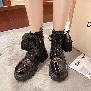 Ботинки мартинсы, новые тонкие дышащие короткие ботинки в британском стиле ретро, Детские сетчатые ботинки с отверстиями, X771