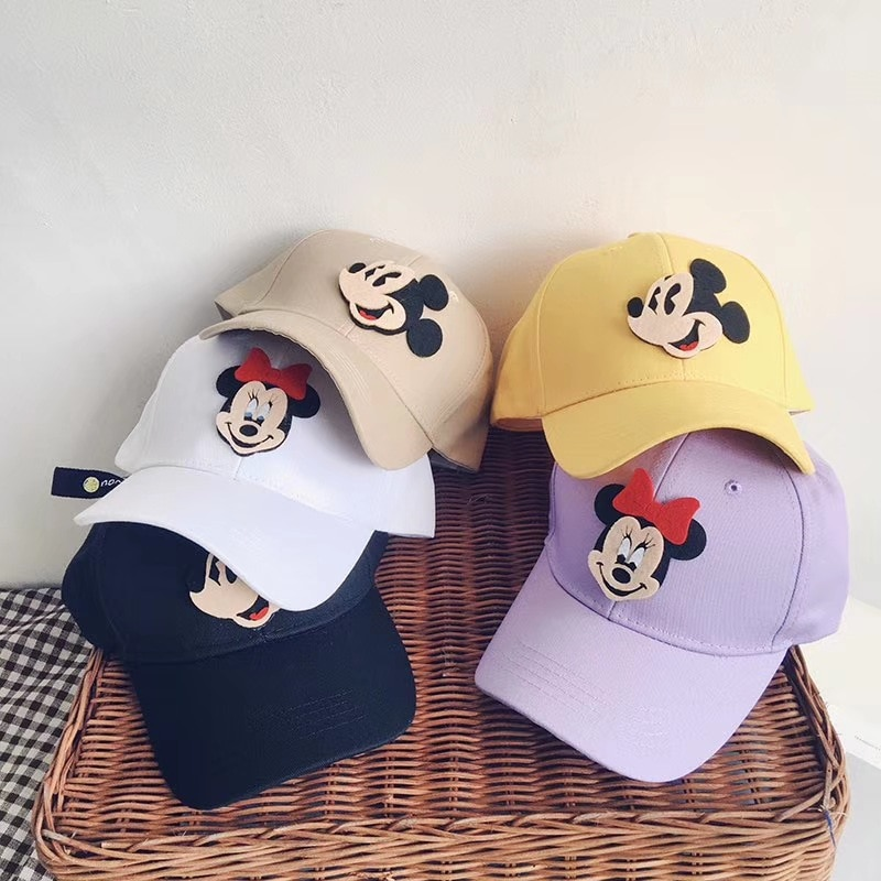 Gorra de béisbol de algodón para bebés y niñas con dibujos animados de Mickey Sticker, gorra de béisbol para niños y niñas de Hip Hop