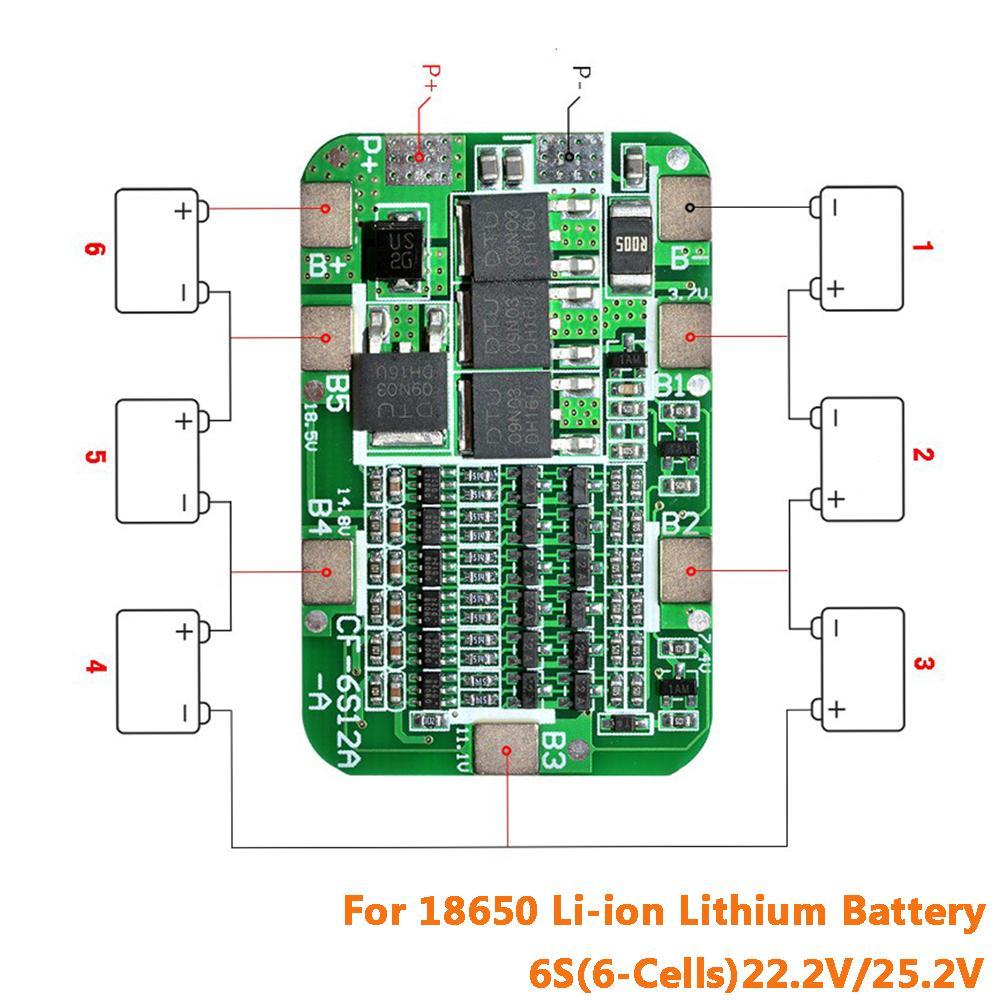 6S 15A 24V PCB BMS Schutz Bord Für 6 Pack 18650 Li-Ion Lithium-Batterie Zelle Modul DIY Kit ein Stück