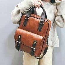 2020 mochila feminina anti-vol sacs décole étanche voyage vintage ordinateur portable en cuir marron grand sac à dos femmes coréen concepteur