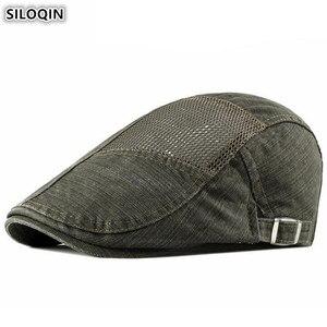 SILOQIN Men's Hollow Mesh Breathable Berets 2020 NEW Summer Net Cap Adjustable Size Vintage Tongue Caps Men's Fashion Brands Hat