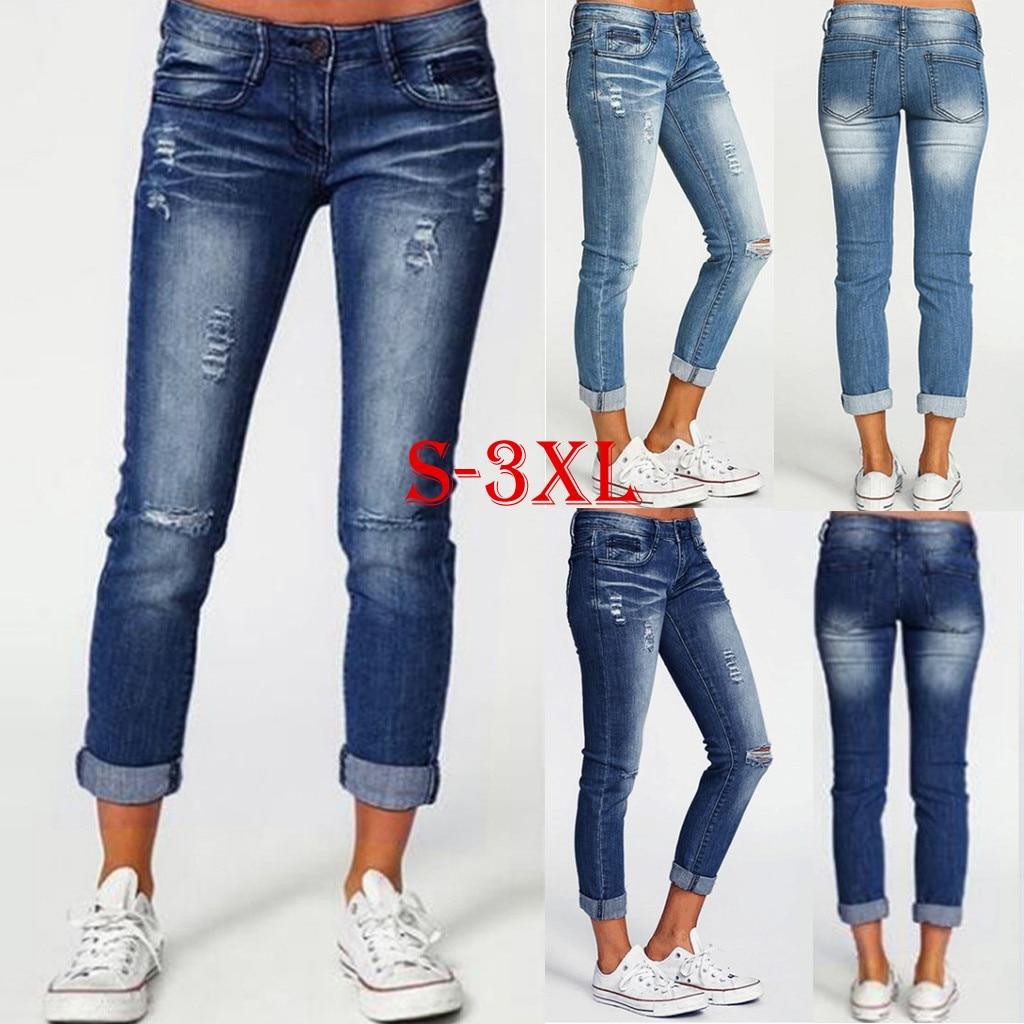 Pantalones vaqueros delgados para mujer, pantalones vaqueros azules con agujeros para mujer, pantalones de Vaqueros pitillo casuales de alta calidad, pantalones vaqueros de cintura elástica para mujer #35