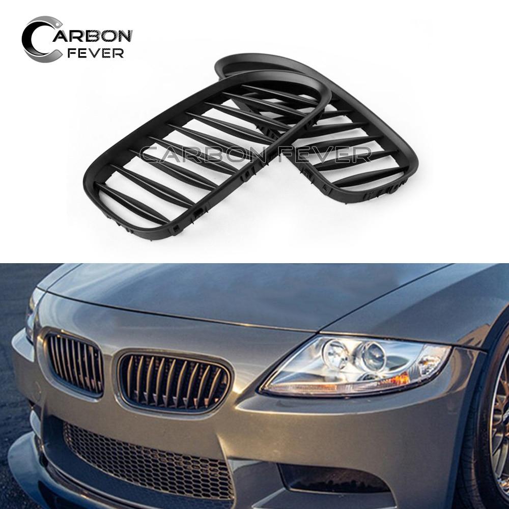 Para bmw z4 e85 e86 amortecedor dianteiro grade de rim malha roadster coupe única slat gloss preto