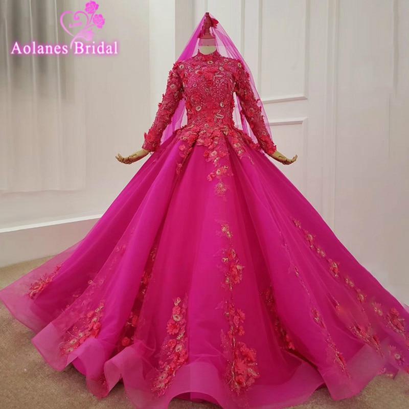 3d Vestido De Novia flores largo musulmán manga cuello alto Color Vestido De Novia con velo De Novia Rosa Vestido De Novia Vintage