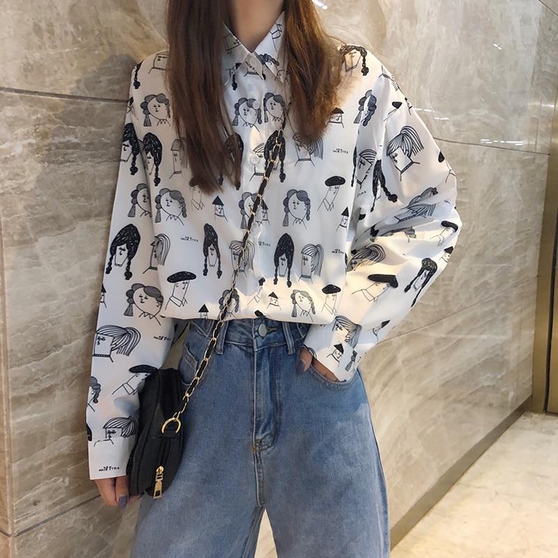 Camisa holgada con estampado de flores para mujer, camisetas bonitas de estilo coreano Harajuku Ulzzang, ropa Vintage Kawaii japonesa para mujer