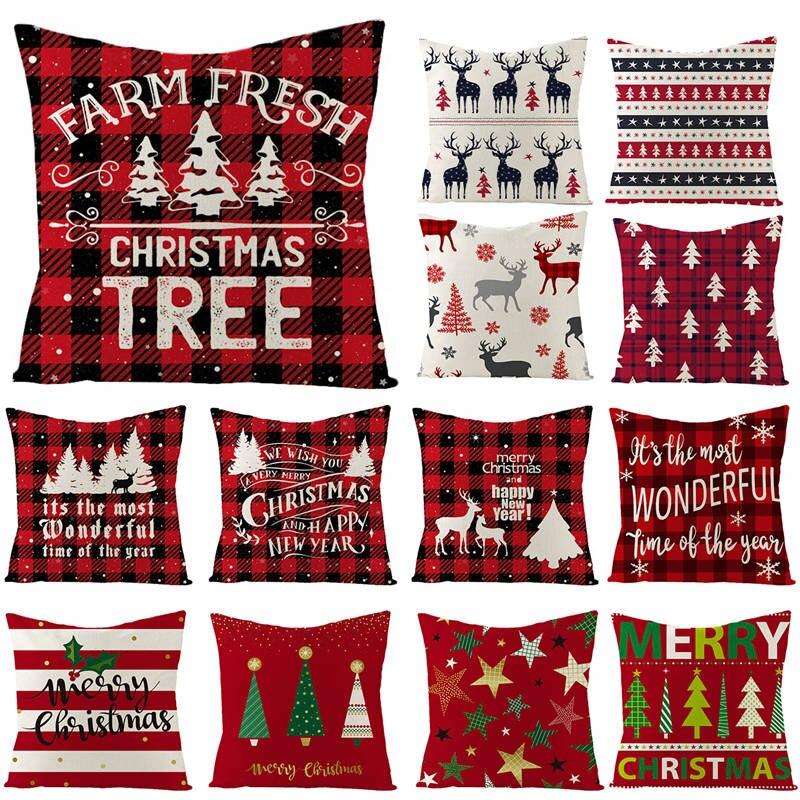 Noël arbre housse de coussin joyeux noël décorations pour la maison 2020 noël ornements cadeaux Navidad Noel bonne année 2021