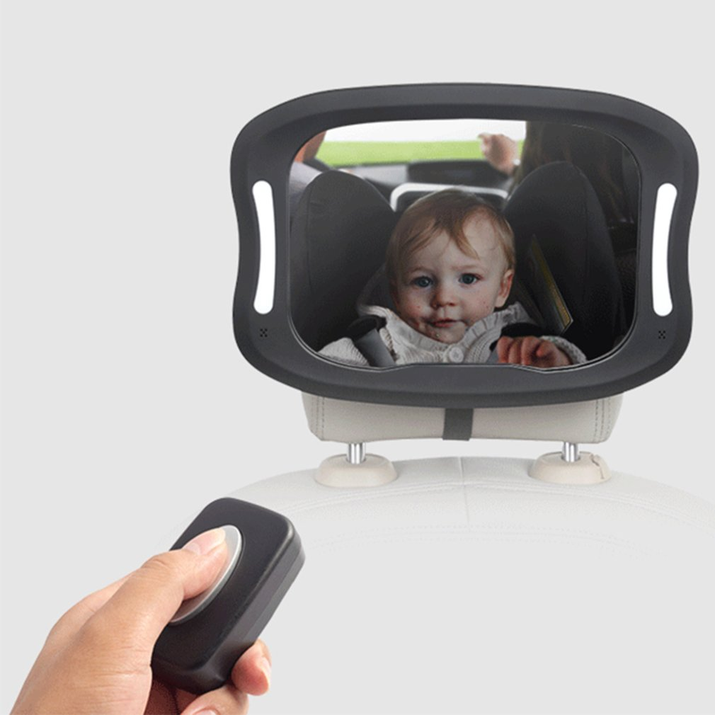 Car Seat Rearview Mirror Baby Viewing Mirror Remote LED Lights Rearview Mirror Acrylic ABS 360 Degree Rotation