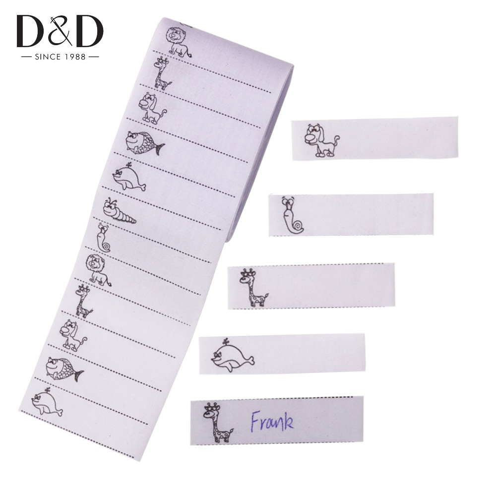 200pcs/pack White Washable Iron on Name Labels Garment Fabric Clothing Tags for School Care Nursing