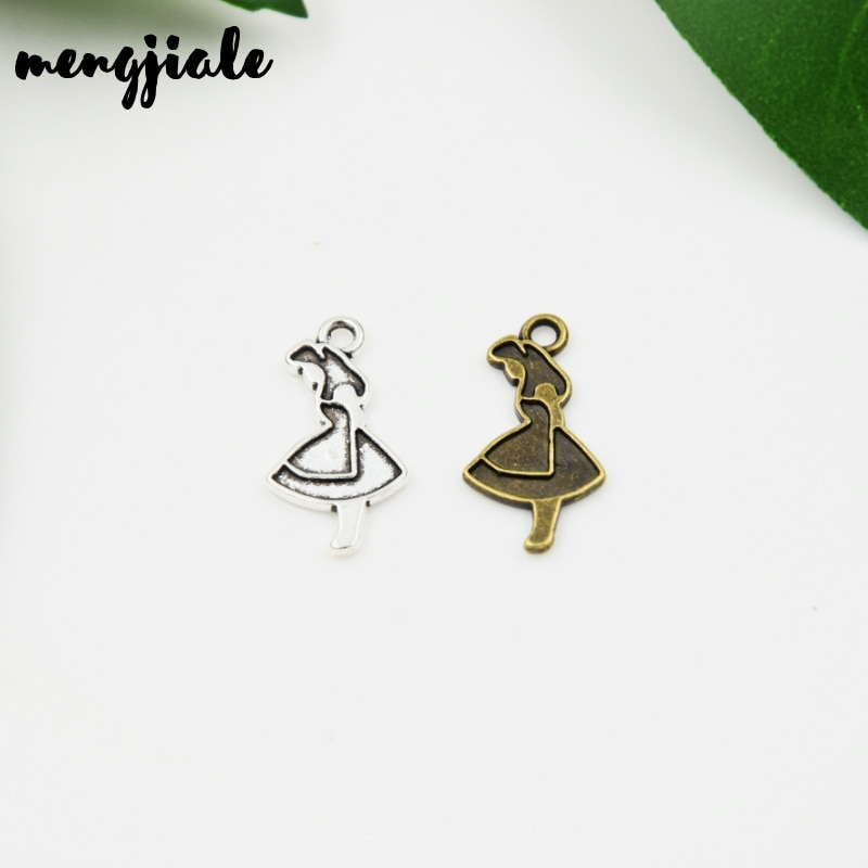 MENGJIALE 25pcs/lot New Product Two Color Beautiful Girl Charms Pendant Jewelry Metal Alloy Jewelry
