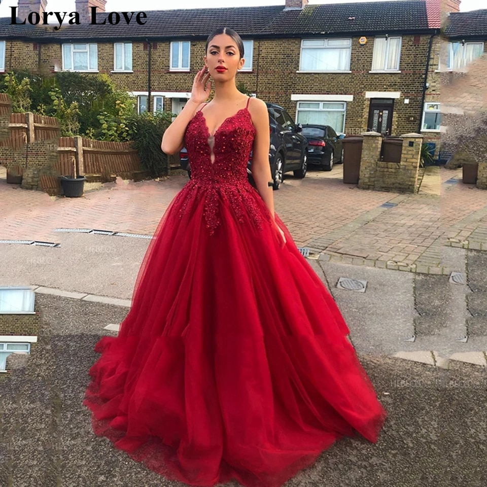 فستان سهرة نسائي على شكل حرف a مزين بالورود والترتر ، طويل ، مزين بالترتر ، أحمر ، 2021