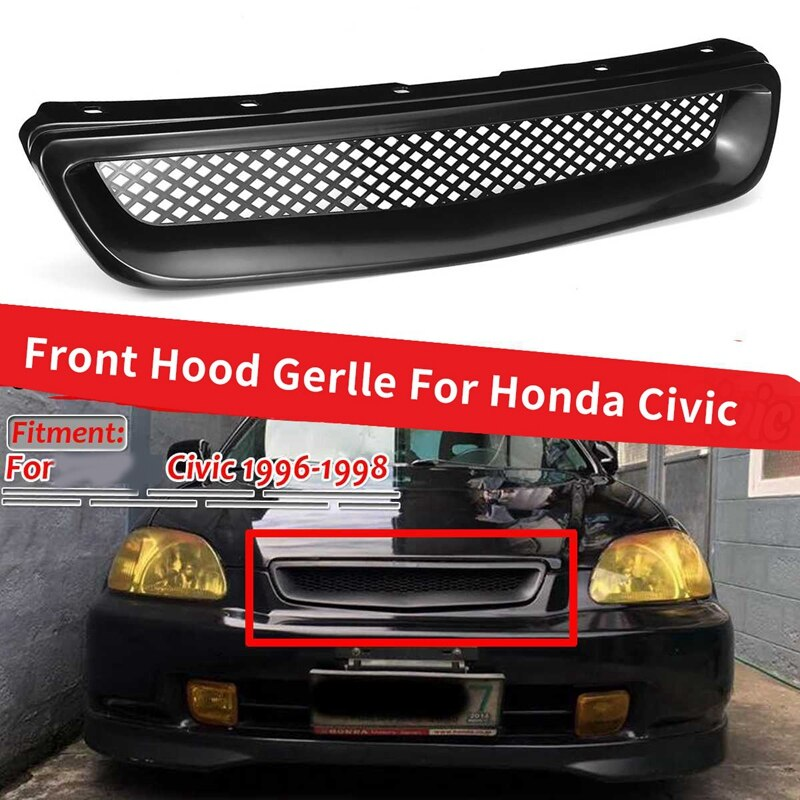 ABS Black Car Front Bumper Hood Grill Grille Cover Trim for Honda Civic EK CX DX EX HX LX Type R 1996 1997 1998