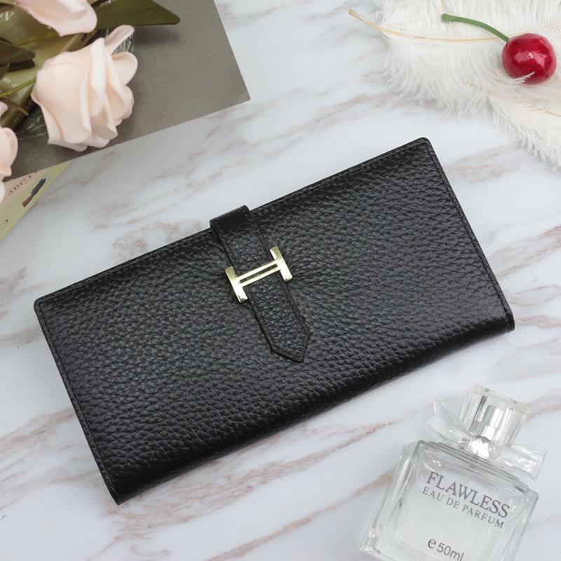 جلد طبيعي طويل بطاقة فاخرة مصمم المال المحافظ موضة محافظ حقيبة صغيرة للنساء