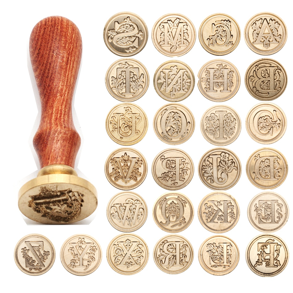 2020 sellos transparentes Retro sello de madera clásico 26 letra a-z alfabeto sello de cera inicial antiguo decorativo antiguo
