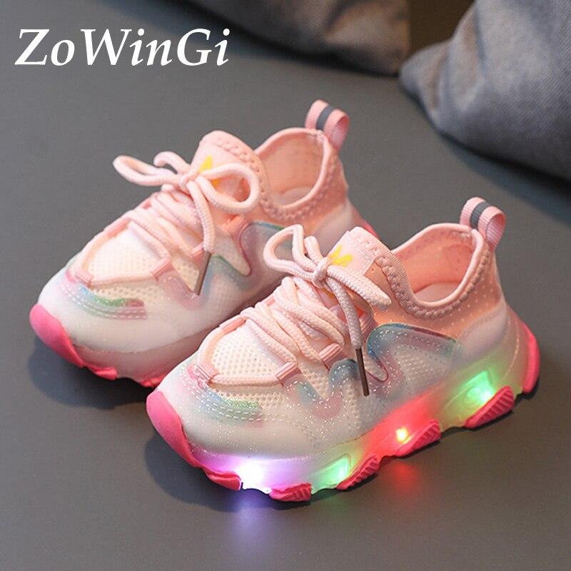 Tamanho 21-30 crianças iluminam acima sapatos tenis infantil menina crianças led sapatos crianças sapatos casuais tênis brilhante das crianças