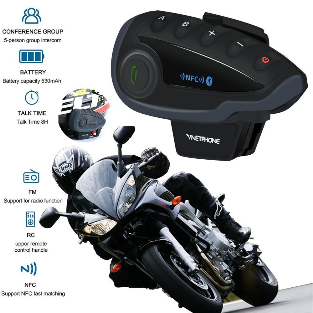 Ciclismo completo duplex walkie-talkie 5 pessoas chip inteligente sem fio capacete da motocicleta walkie-talkie rádio fm v8