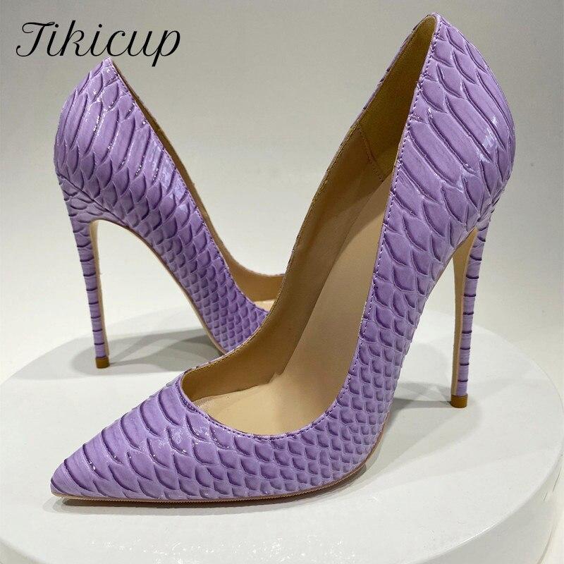 Tikicup الأرجواني التمساح تأثير المرأة تنقش Patern الخنجر عالية الكعب مثير السيدات فستان الحفلات مضخات أحذية حجم كبير 33-45