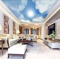 ceilings mural blue sky white clouds sunlight mural paintings living room ceiling wallpaper