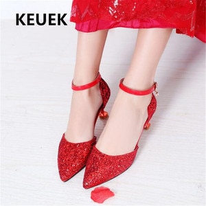 New Children  Crystal shoes High Heels Girls Party Performance Dress Shoes Princess Student Thin Heels Leather Shoes Kids 018