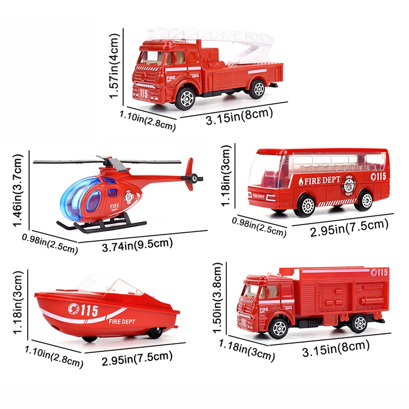 5 Kinds Mini Fire Rescue Truck Alloy Diecast Vehicle Kids Car Model Toys Helicopter Speedboat Bus Gift Toy for Boy Children S005 недорого