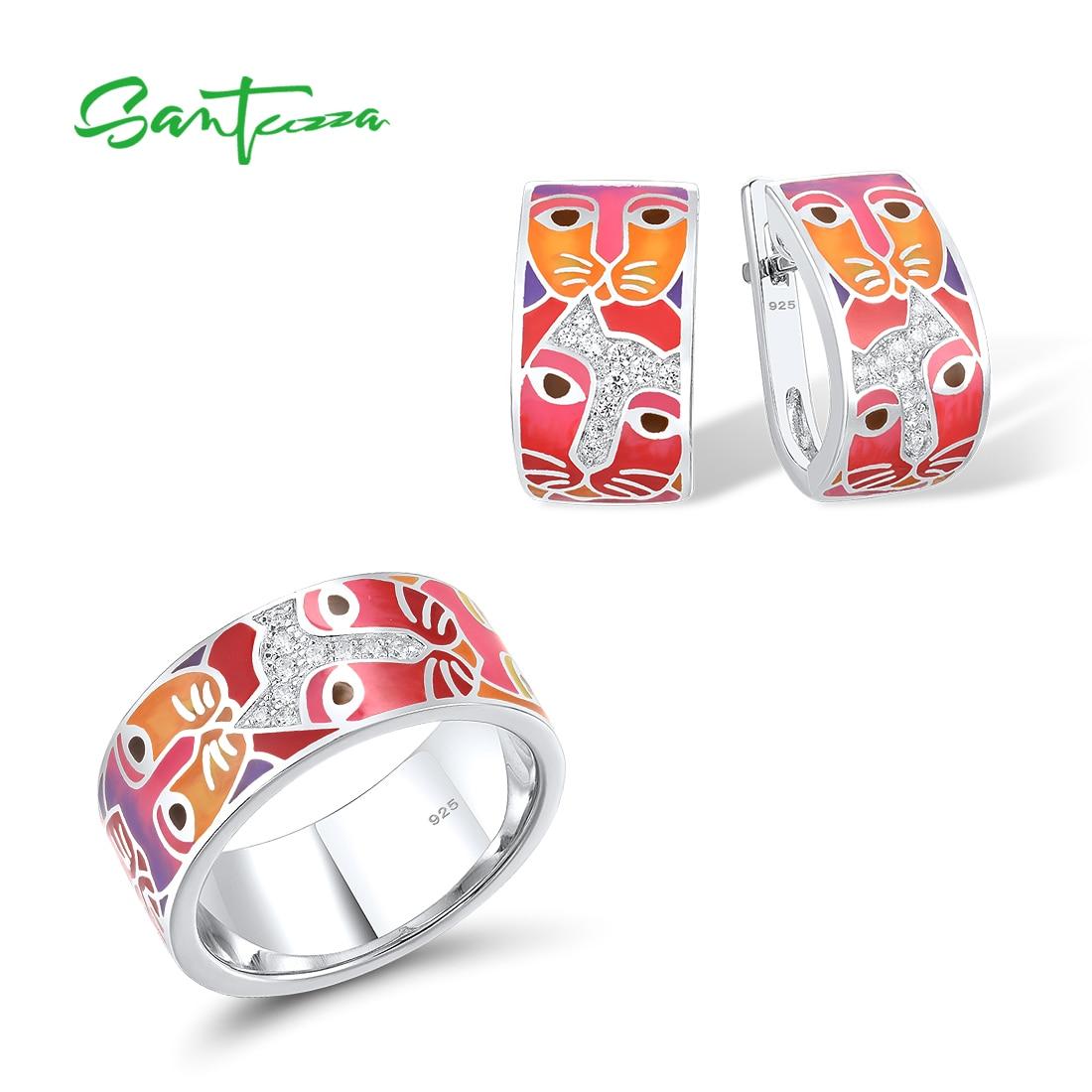 Promo SANTUZZA Pure 925 Sterling Silver Jewelry Set For Woman White CZ Red Cat Enamel Ring Earrings Set Lovely Fine Jewelry Handmade