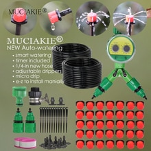 MUCIAKIE 50M Automatische Tuin Micro Irrigatiesysteem Timer Controller 1/4 Micro Drip Irrigatie Kit Verstelbare Gieter Set