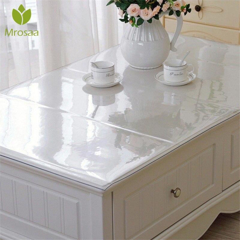 Mantel de mesa rectangular de vidrio suave resistente al aceite impermeable de 1,5mm, mantel de mesa transparente de PVC, cubierta de mesa para cocina, mantel de mesa de té