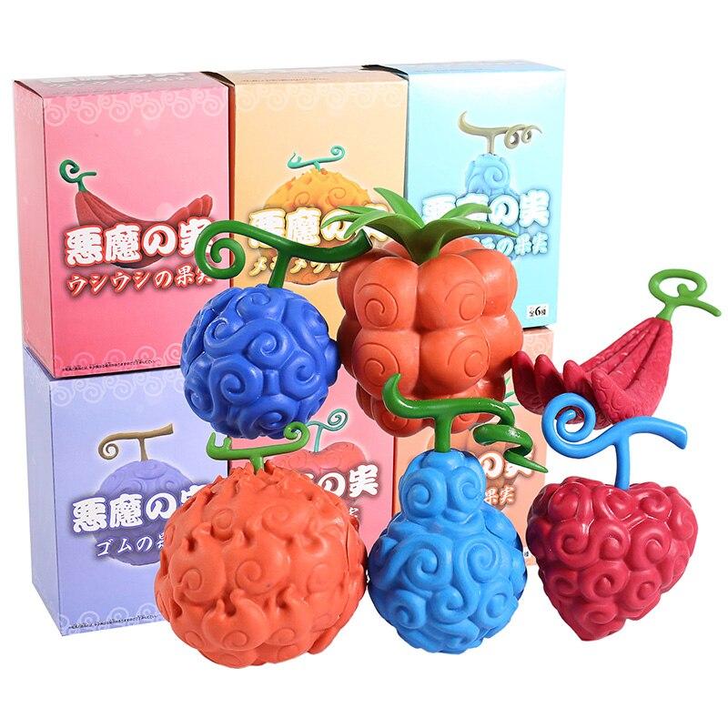 One Piece Devil Fruit Gum Gum Flame Flame Ope Ope Chop Chop Human Human Shock Fruit PVC Figures Toys 6pcs/set