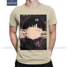 Wired God Serial Experiments Lain Men's T Shirts Glitch Iwakura Manga Girl Sci Fi Anime Tee Shirt Short Sleeve T-Shirts Cotton