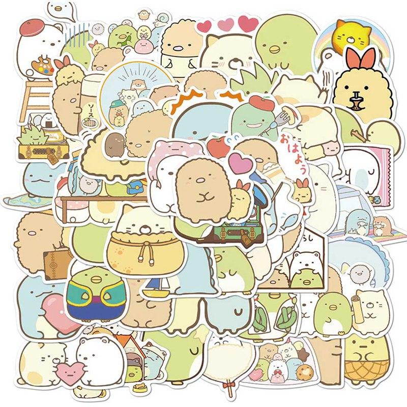 50Pcs/set Anime Sumikko Gurashi Paper Sticker Cute Bear Penguin Cat Decorative Adhesive for Diary Letter Scrapbook Stationery
