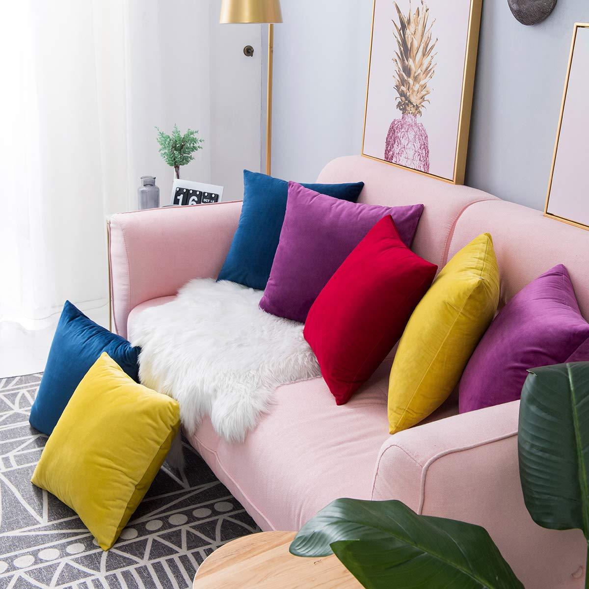 2020 luxus Weiche Samt Kissen Abdeckung Für Wohnzimmer Sofa Kissen Set Einfarbig Kissenbezug Kissen Abdeckung Kissen Abdeckung 40x40cm