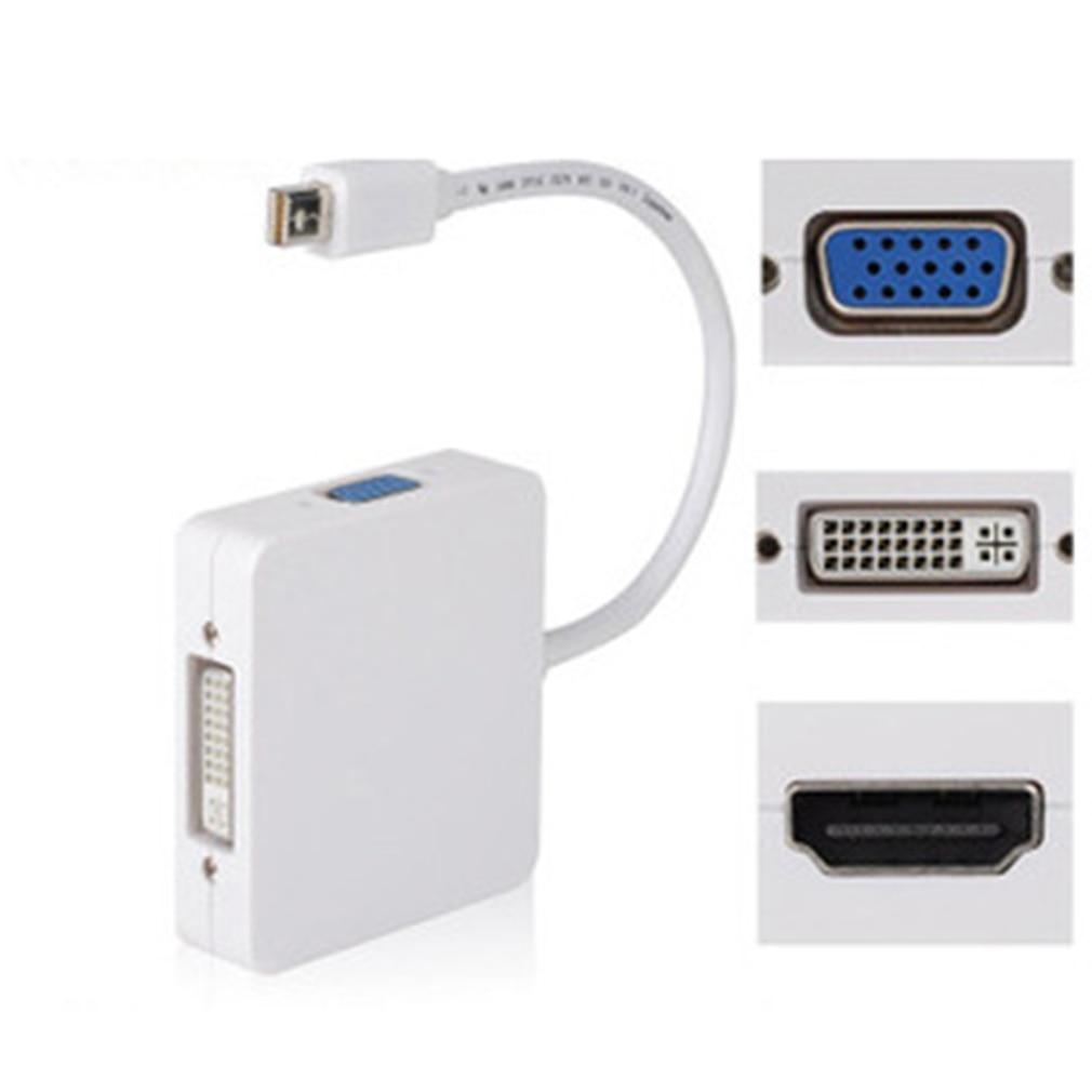 Hombre-hombre Mini puerto de pantalla para Thunderbolt a HDMI VGA DVI combinación Cable adaptador para MacBook Pro aire