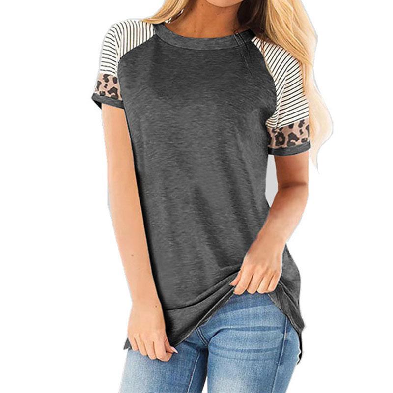 2020 leopardo verano camiseta de las mujeres de gran tamaño T Shrit Mujer a rayas camiseta mujer manga corta Camisetas 3XL