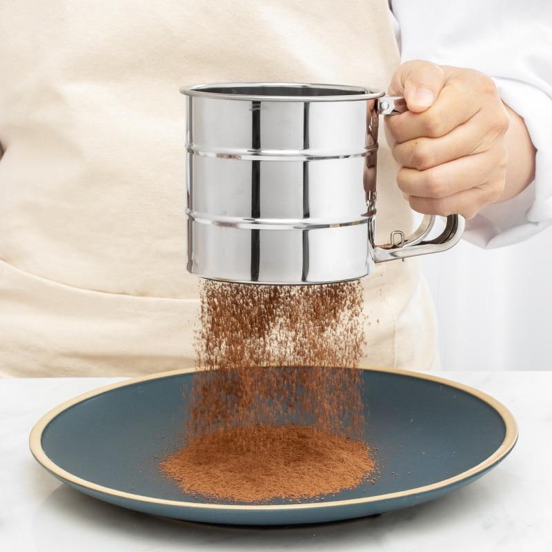 Tasse de tamis à farine en maille d'acier inoxydable de haute qualité, sucrier à glaçage pressé à la main, tasse de tamis, ustensiles de cuisine, outils de cuisson