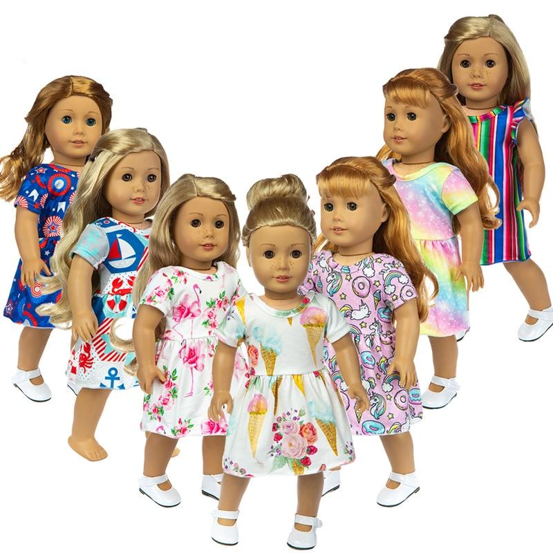 ¡Novedad de 2019! Vestido con falda y sombrero aptos para muñeca de Niña Americana, muñeca de 18 pulgadas, regalo de Navidad para niña (solo se vende ropa)