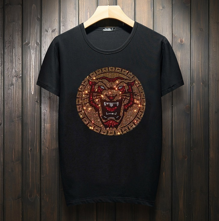 Hot drill T-shirt Men  Cotton Tees Tops Hip Hop Streetwear Male Tshirt Man Summer Casual Mens T Shirt