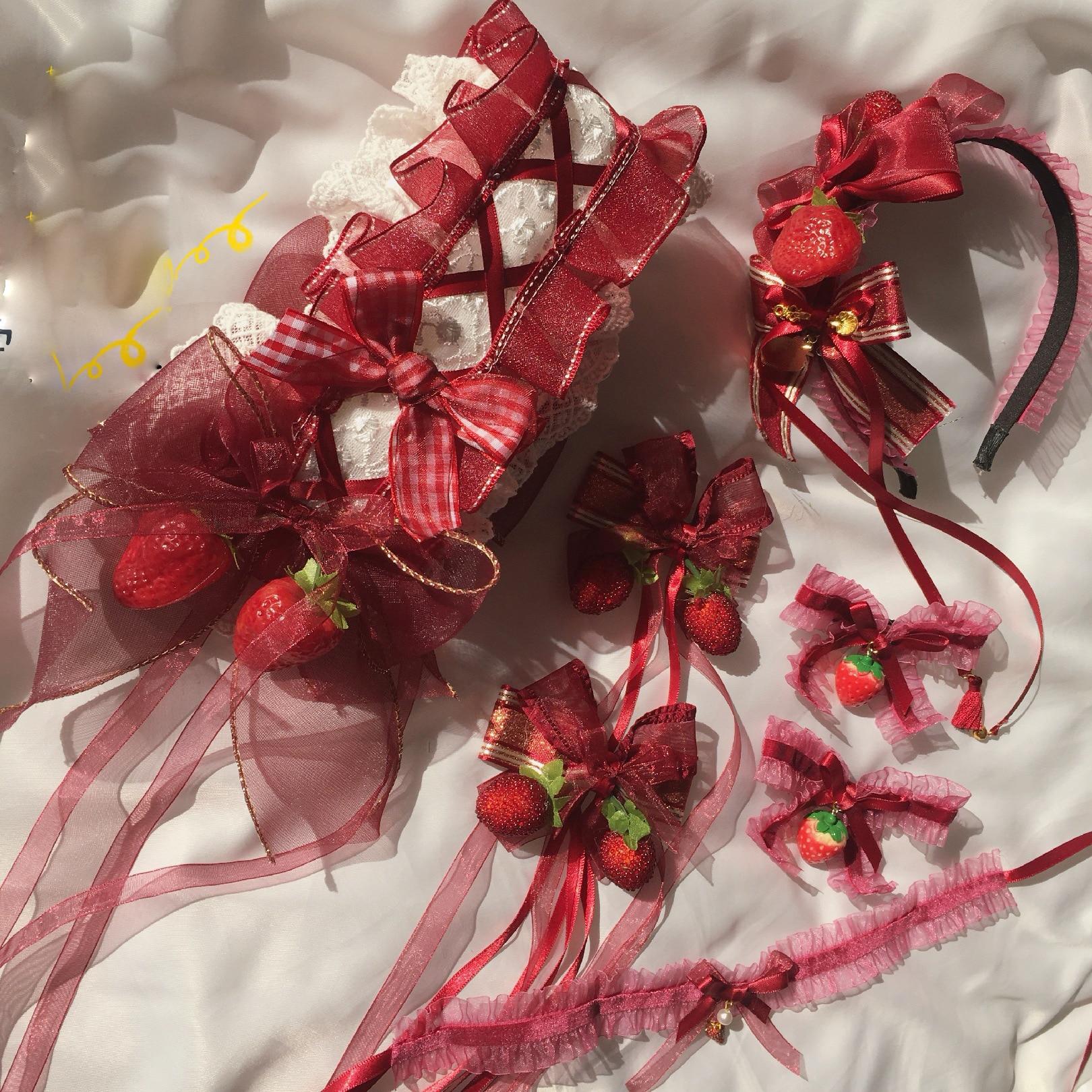 Dulce Lolita fresa Jam KC horquilla suave chica lazo japonés encaje diadema KC accesorios para el cabello