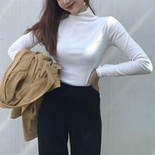 Camiseta de manga larga de cuello alto de Color sólido de otoño para mujer