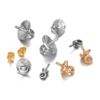 50 100pcslot brass half hole charms eye pins beads end caps top drilled pendant bails findings connectors for jewelry makings
