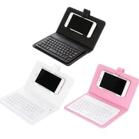 wireless bluetooth keyboard pu storage case mobile phone universal protective casing keypad cellphone 2 in 1 storage case