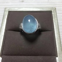 100 natural blue aquamarine adjustable ring 925 silver 12x15mm love gift stone ring aaaa crystal healing stone low price