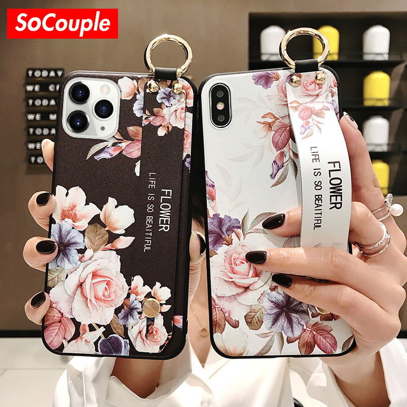 Socouple para iphone 11 caso flor telefone titular caso para iphone se 8 6s 7 plus x xr xs 11 pro max macio tpu pulseira de pulso capa
