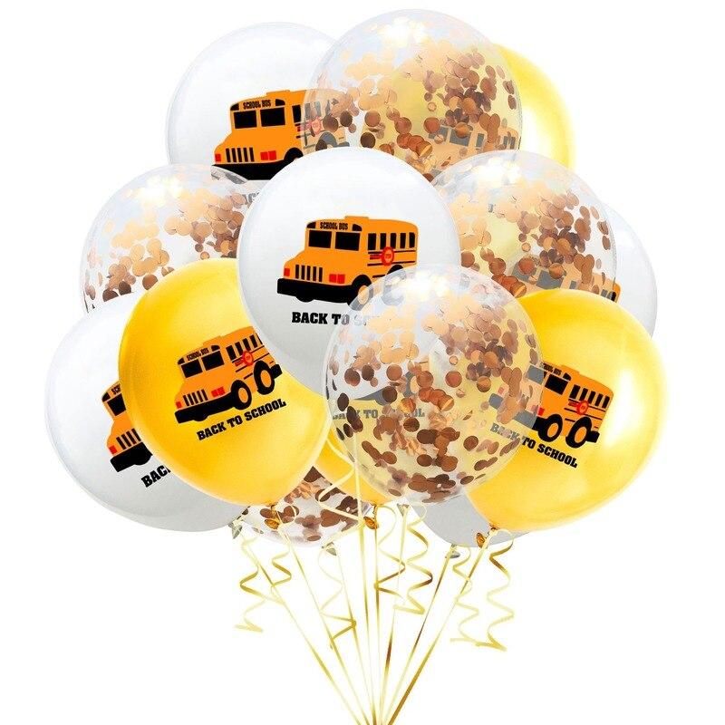 Globos de automóvil de dibujos animados de vuelta a la escuela de 15pcs12pulgadas para volver a la escuela Gold Bus escolar carta balones confeti cumpleaños balonía