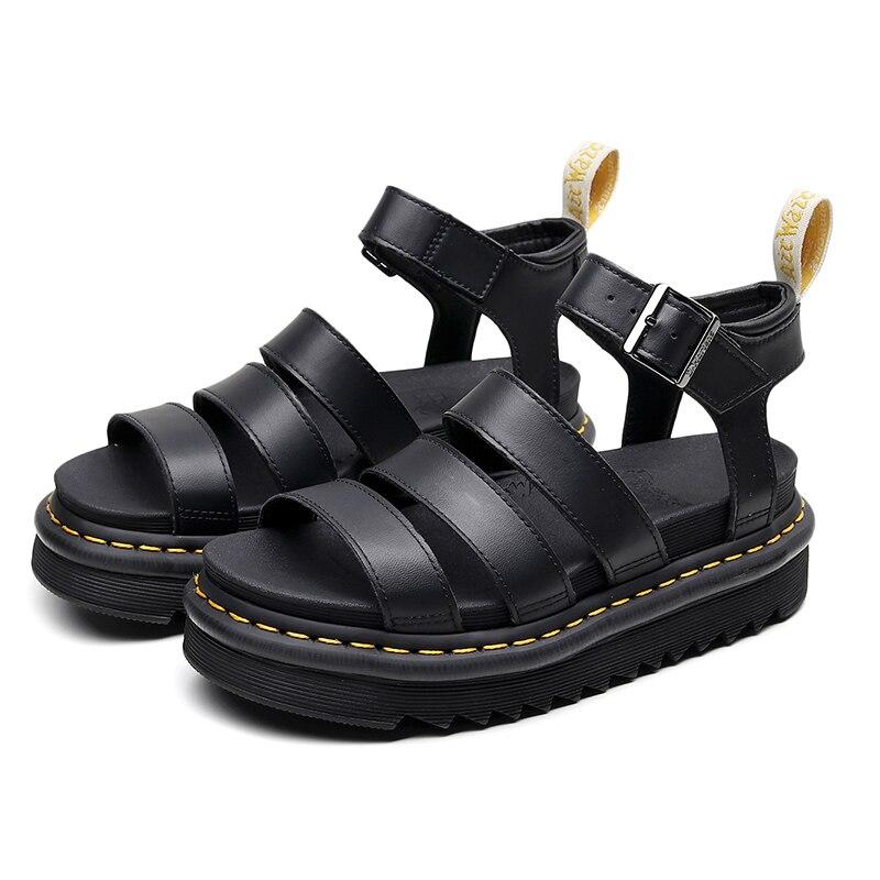 صنادل نسائية صيفية أحذية مارتنز أحذية نسائية صنادل نسائية ناعمة مريحة كعب منخفض أحذية بكعب سميك