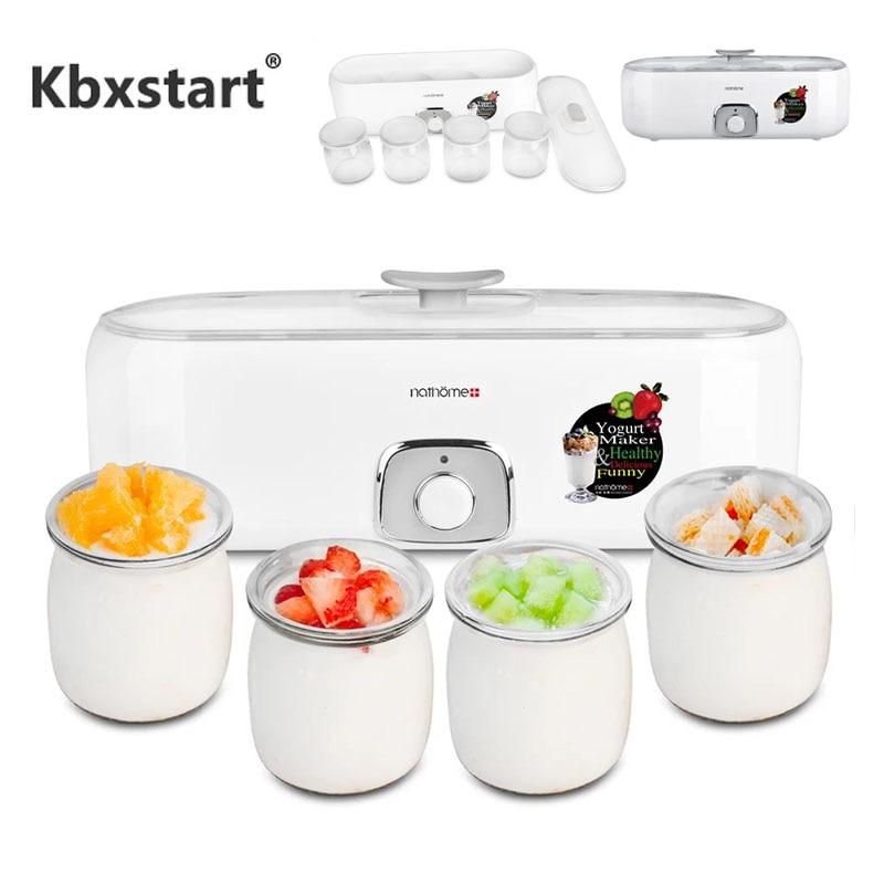 Yogurt automático eléctrico, taza de cristal, Yogurt casero, herramienta DIY, utensilios de cocina, Joghurtmaschine 220V, Yogurt Maskine