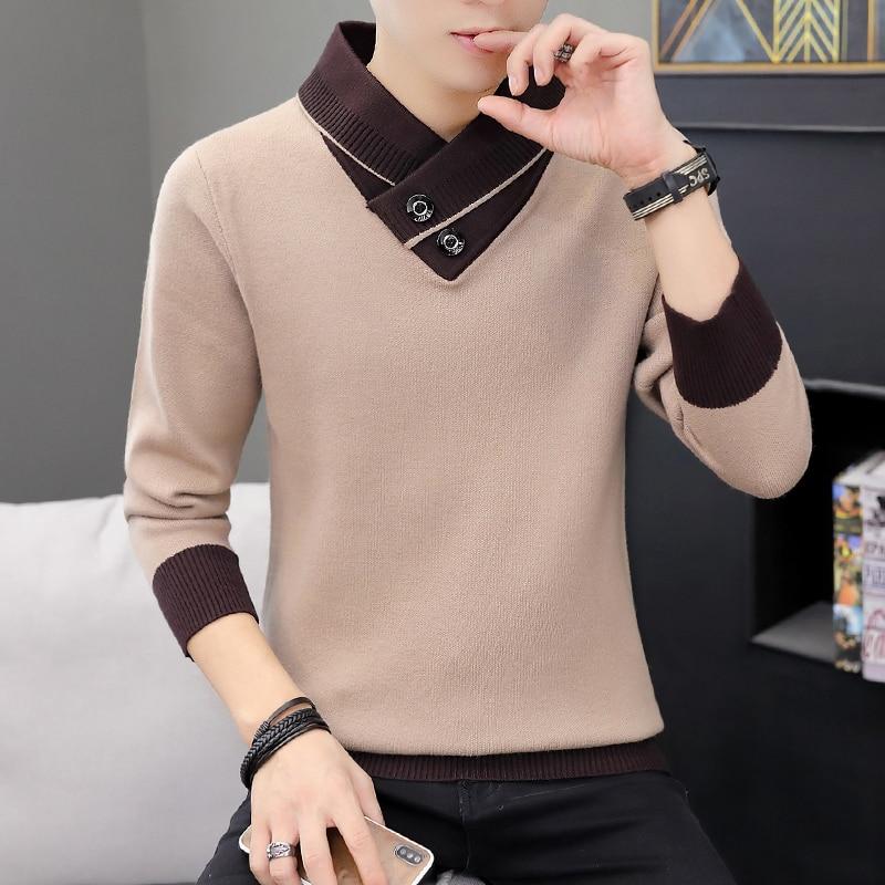 Мужской осенний пуловер с V-образным вырезом, свитер, мужские облегающие вязаные пуловеры, Мужская одежда, вязаные свитера, пуловеры для муж...