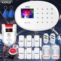 KERUI     systeme dalarme de securite domestique intelligent  GSM  wi-fi 2 4G  clavier tactile couleur  application de renforcement  connexion reseau sans fil