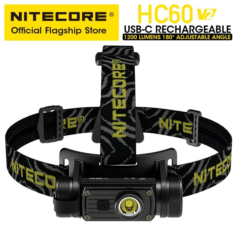 NITECORE HC60 V2 USB-C Rechargeable Headlamp 1200 Lumens 180° Adjustable Angle Headlight Flashlight with 3400mAh 18650 Battery