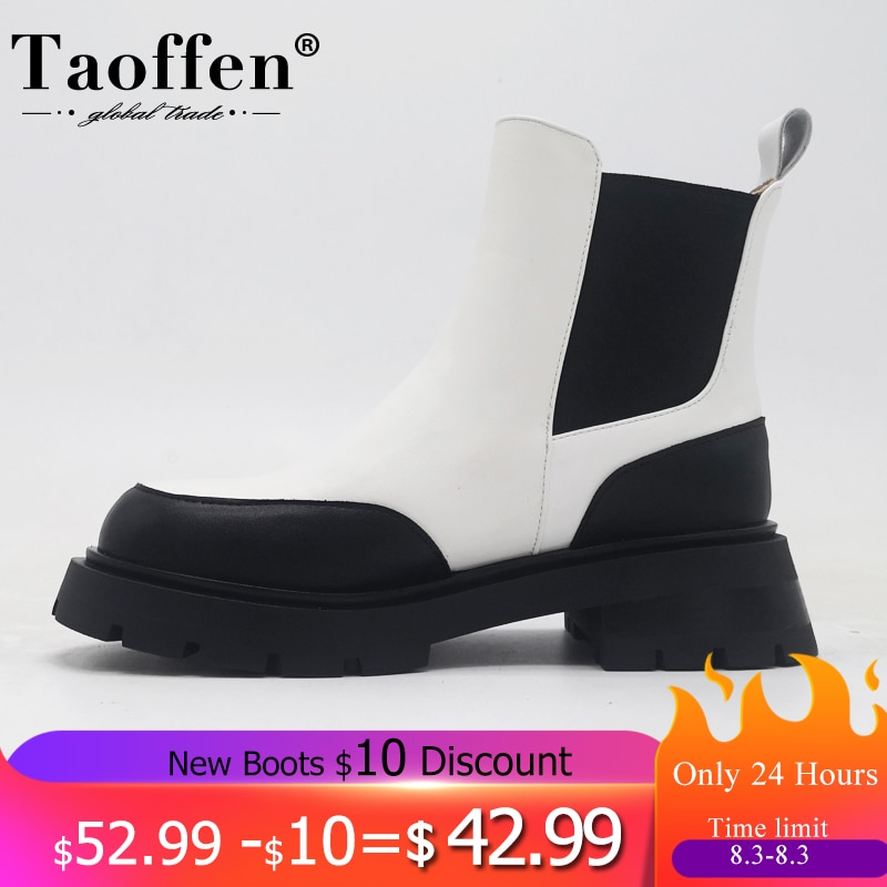 Taoffen Real Leather Ankle Boots For Women Fashion Platform Winter Shoes Woman Short Boot Office Lad