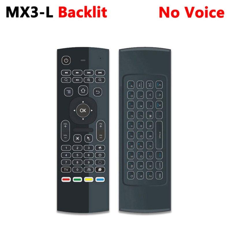 MX3 MX3-L ratón de aire retroiluminado control remoto por voz inteligente 2,4G RF teclado inalámbrico para X96 mini KM9 A95X H96 MAX Android TV Box