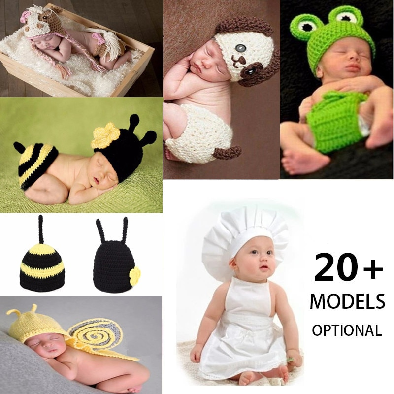23 Model Optional Crochet Knitted Newborn Photography Props Photo Accessories Baby Costume Boys Girls Photographie Clothes